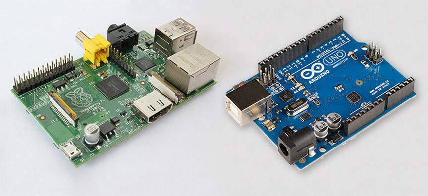 Exemplos de placas Raspberry PI e Arduino, respectivamente
